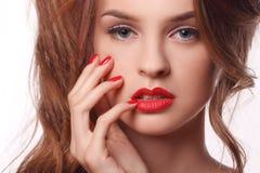 Omhoog maakt de schoonheids modelvrouw met mooi Stock Afbeelding