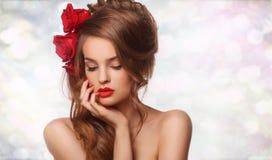 Omhoog maakt de schoonheids modelvrouw met mooi Royalty-vrije Stock Afbeelding