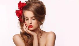 Omhoog maakt de schoonheids modelvrouw met mooi Stock Afbeeldingen
