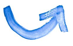 Omhoog rond gemaakt, voorwaartse pijl - waterverf, met de hand geschilderd met een ruwe borstel Uitstekende schilderijen voor ont stock illustratie