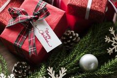 Omhoog sluiten de Kerstmis huidige dozen Royalty-vrije Stock Foto