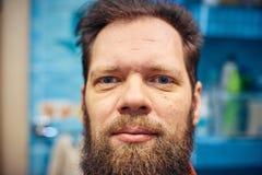 Omhoog sluiten de de korte baard en lippen van mensen royalty-vrije stock fotografie