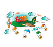 Comic illustration of promotional sale on the plane Stock Photo