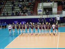 Omichka (het Gebied van Omsk) - Dynamo (Krasnodar) Presentatie van teams Stock Foto
