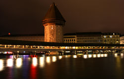 όψη της Ελβετίας νύχτας Λ&omicr Στοκ φωτογραφίες με δικαίωμα ελεύθερης χρήσης