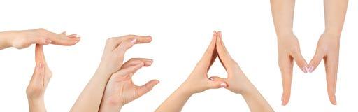 χέρια που γίνονται τη λέξη &omicron Στοκ εικόνες με δικαίωμα ελεύθερης χρήσης