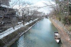 Omihachiman-Burggrabengehweg Stockfoto