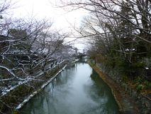 Omihachiman Moat In Snow Royalty Free Stock Images