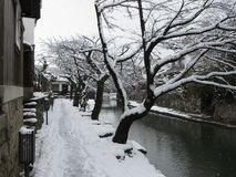 Omihachiman Moat Walkway Covered In Snow, Shiga, Japan stock photos