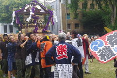 Omikoshi. (portable shrine) parade in Vancouver, Canada, during Powell Street Festival Stock Photos