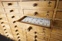 Omikuji Drawers. At a temple in Japan. Each drawer contains written fortune sheets which are selected at random by people in the hope their wishes will be Stock Photography