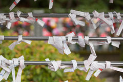 Omikuji at Shinto temple in Japan Stock Photo