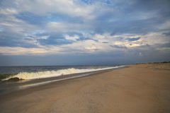 Ominous Beach. Ocean horizon at the beach stock image