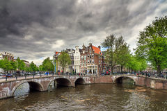 Ominous canal clouds Stock Images