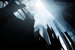 Ominous CityScape. Abstract architectural city scape with a group of ominous skyscrapers Stock Image