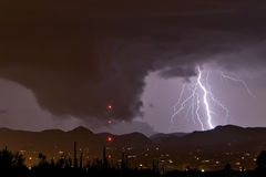 Ominous Cloud and Lightning. Wall cloud or funnel cloud with lightning during severe thundershower in desert southwest United States Stock Image