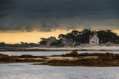 Ominous clouds at the coast in France royalty free stock photography