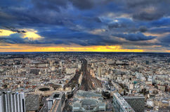 Ominous clouds Paris. Beautiful cityscape skyline of Paris, France, with dark ominous clouds in winter stock photos