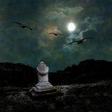 Ominous dark night in the dim moonlight Royalty Free Stock Images