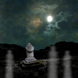 Ominous dark night in dim moonlight on Halloween Royalty Free Stock Photography