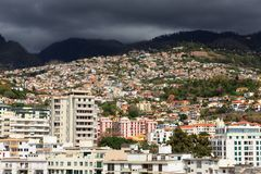 Ominous Funchal cityscape royalty free stock images