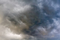 Ominous Grey Storm Clouds. Dramatic stormy black sky clouds before rain Royalty Free Stock Photography