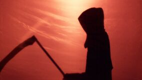 Ominous Grim Reaper silhouette came to take murdered victim soul, scary thriller