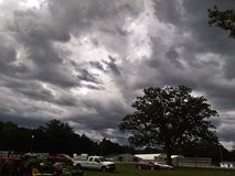Storm clouds. Ominous looking clouds above the fairgrounds stock images