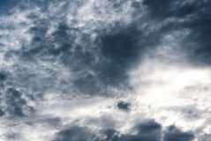 Ominous Sky of Dark Grey and White Rain Clouds. Stormy looking rain threatening sky of dark grey clouds mingled with white royalty free stock image