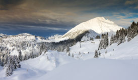 Ominous snow landscape. Beautiful fresh powder landscape with pine trees in Les Portes du Soleil in the European Alps royalty free stock photo