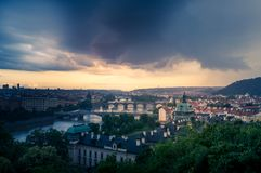 An Ominous Storm Bears Down On Prague. An ominous storm bears down on the city of Prague at sunset, as seen from the viewpoint at Letna Park Royalty Free Stock Photography