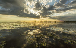 Ominous stormy sky reflection over natural lake. In the Danube Delta royalty free stock images