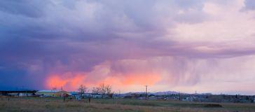 An ominous sunset in montana. A dramatic sunset before a storm as seen in america in the springtime stock image