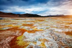 Ominous view geothermal area Hverir Hverarond. Location place stock images