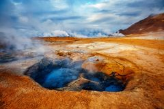 Ominous view geothermal area Hverir Hverarond near Lake Myvatn. Popular tourist attraction. Dramatic and picturesque scene. Location place Krafla northeastern stock photography