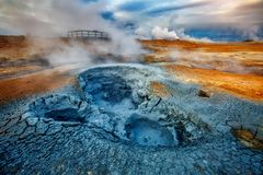 Ominous view geothermal area Hverir Hverarond near Lake Myvatn. Popular tourist attraction. Dramatic and picturesque scene. Location place Krafla northeastern royalty free stock image