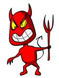 Ominously devil. Funny red devil with trident, ominously smiling Stock Photo