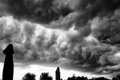 Ominus clouds over deck Royalty Free Stock Images