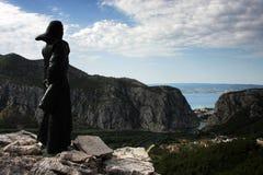 Omis,克罗地亚全景  免版税库存图片