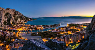 Omis - aerial view at night Stock Photos