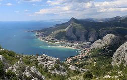 Omis, city at Adriatic coast stock images