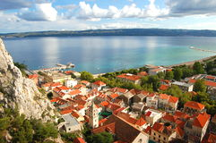 Picturesque panorama of Omis in Dalmatia,Croatia Stock Image
