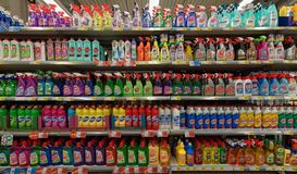 Cleaning products at supermarket. Omis, Croatia, Konzum supermarket, 2017: assortment of cleaning products and chemicals at a supermarket Stock Images