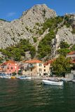 Omis, Croatia - view at The Fortress Mirabella (Peovica) from Cetina river stock images