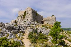 Omis fortress. Ancient fortress on the top of a mountain in Omis town, Dalmatia region, Croatia stock images
