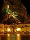 Omis with old fort Mirabella. Mirabela fortress is a symbol of the town of Omis in the fight against pirates Stock Image