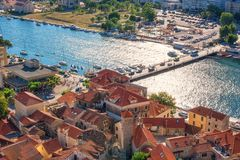 Omis old town on the banks of Cetina river, tourist resort in Dalmatia, Croatia royalty free stock images