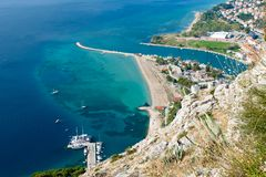 Omis with the River Cetina. View to Omis from the Starigrad Fortress with the river Cetina, the town and the adriatic sea stock photo