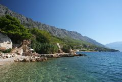 Omis - riviera. Coast near the town of Omis, Croatia, Europe stock images