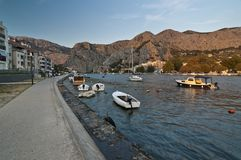 Omis town. Croatia. Wide angle view on bay in Omis, Dalmatia royalty free stock photo